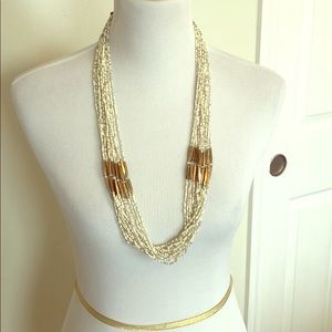 Ivory and gold beaded necklace Dottie Couture